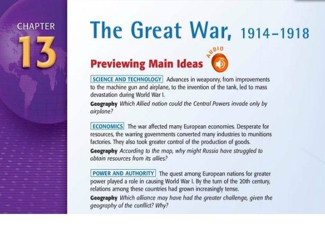 The GreaT War Chapter 13 and 14.1 and 14.2   World War I and the Russian     Revolution (1914–1924)          & Chapter 15N...
