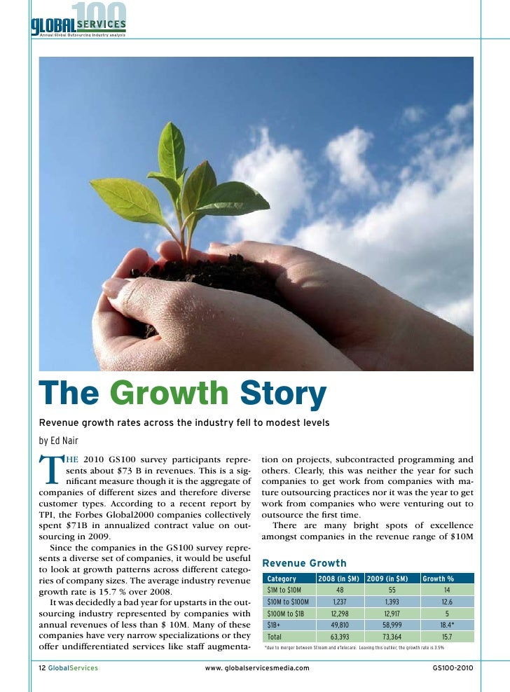 The Growth Story Revenue growth rates across the industry fell to modest levels by Ed Nair   T       He 2010 GS100 survey ...