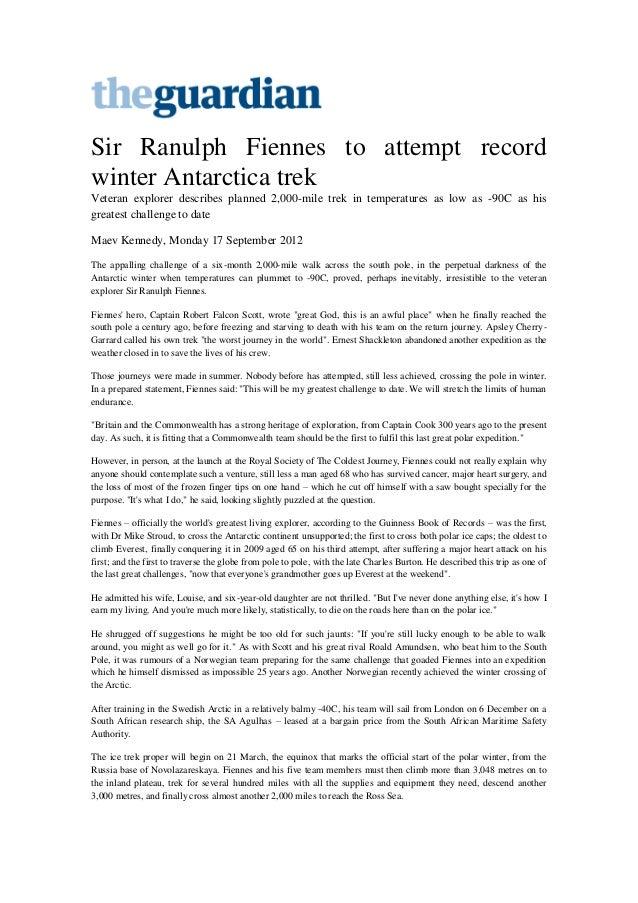 The guardian - Sir Ranulph Fiennes