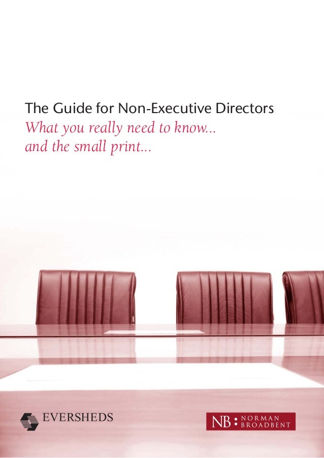 The Guide for Non-Executive Directors What you really need to know... and the small print...