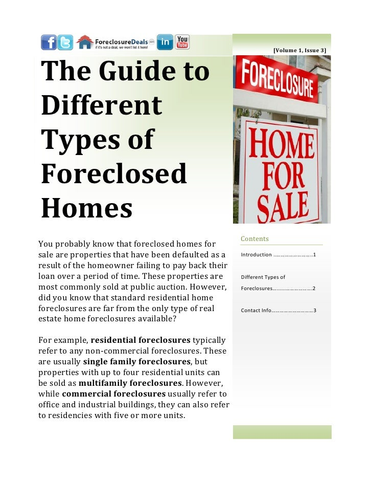 [Volume 1, Issue 3]The Guide toDifferentTypes ofForeclosedHomes                                                       Cont...