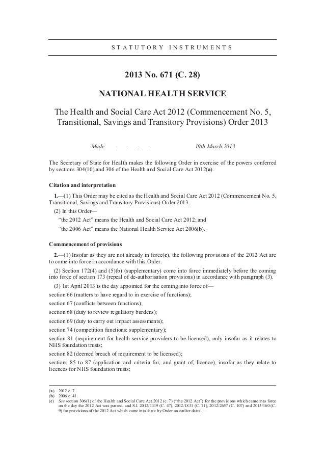 STATUTORY INSTRUMENTS                                          2013 No. 671 (C. 28)                           NATIONAL HEA...