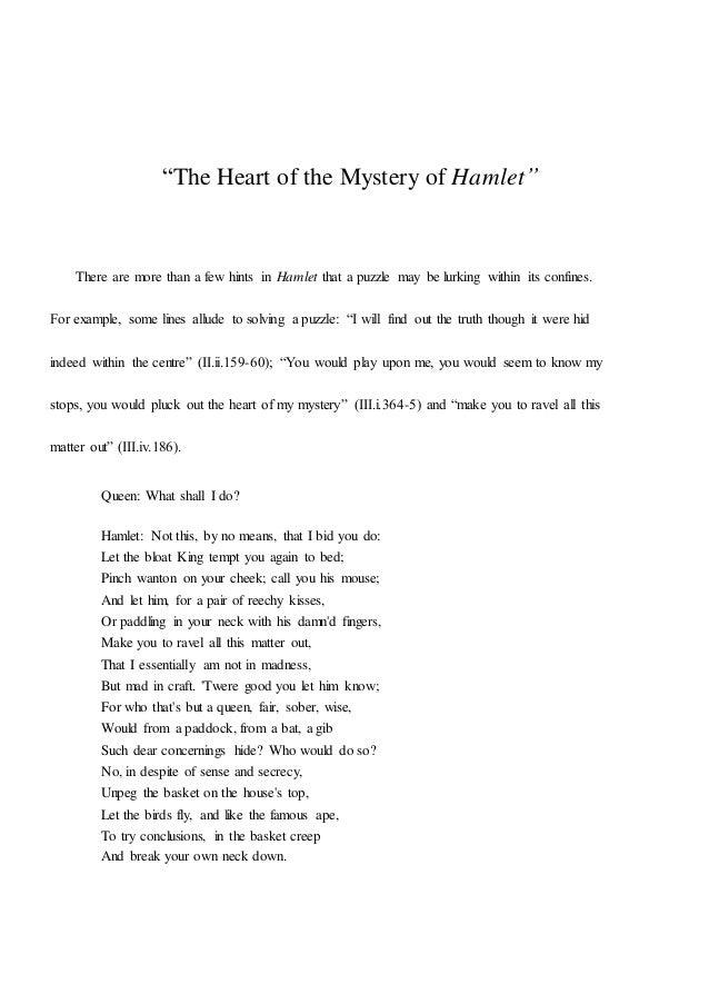 Examples List on Hamlet Oedipus