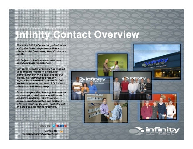 The entire Infinity Contact organization has Infinity Contact OverviewInfinity Contact Overview The entire Infinity Contac...