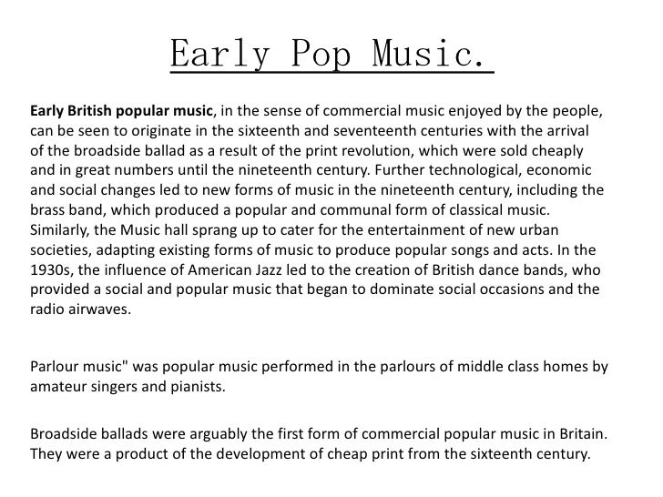 Early composers of pop