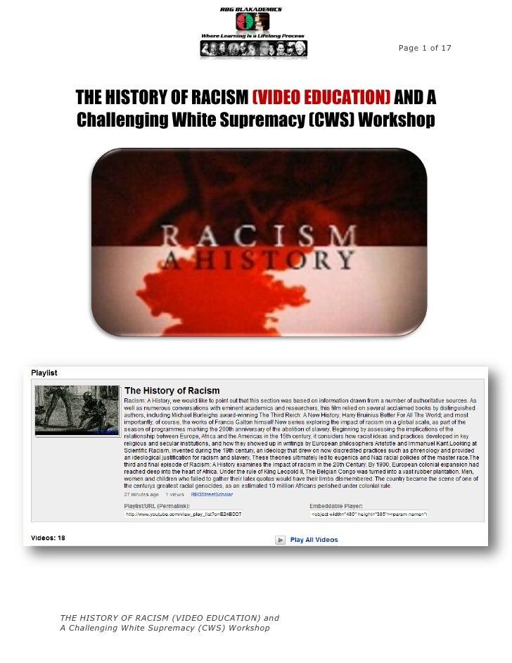 Page 1 of 17   THE HISTORY OF RACISM (VIDEO EDUCATION) AND A   Challenging White Supremacy (CWS) WorkshopTHE HISTORY OF RA...