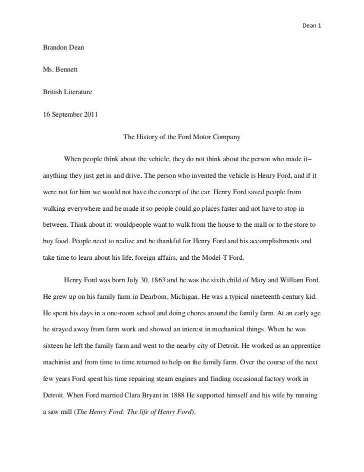 Dean 1Brandon DeanMs. BennettBritish Literature16 September 2011                             The History of the Ford Motor...