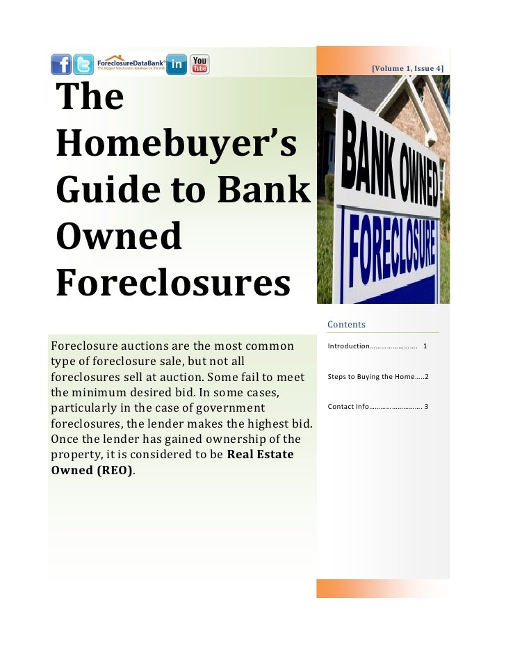 The Homebuyer's Guide to Bank Owned Foreclosures   data bank