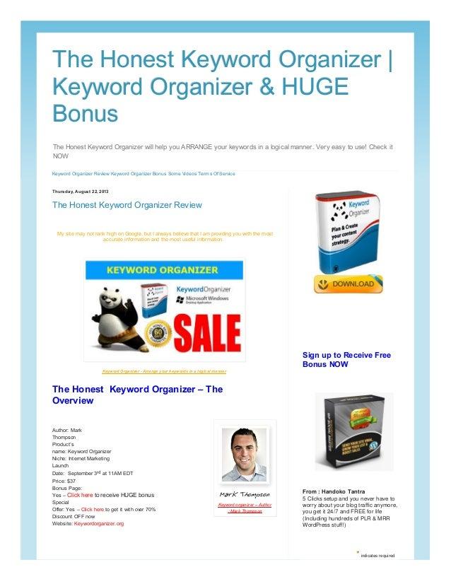 The honest keyword organizer