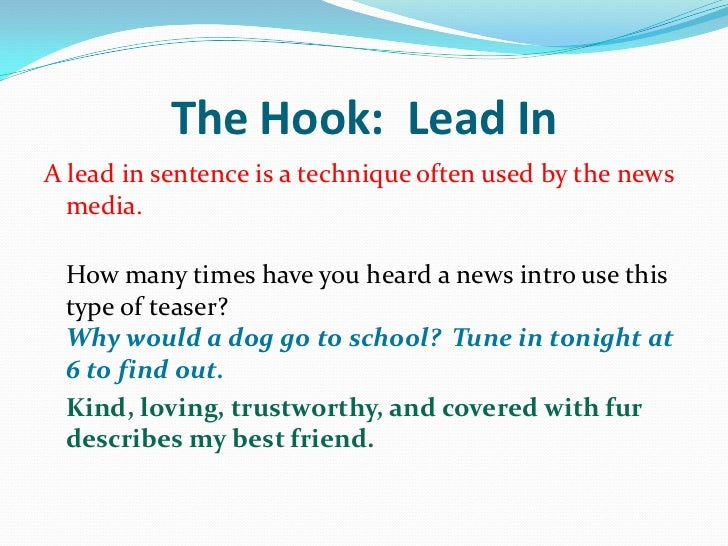 Example Of A Hook For An Essay