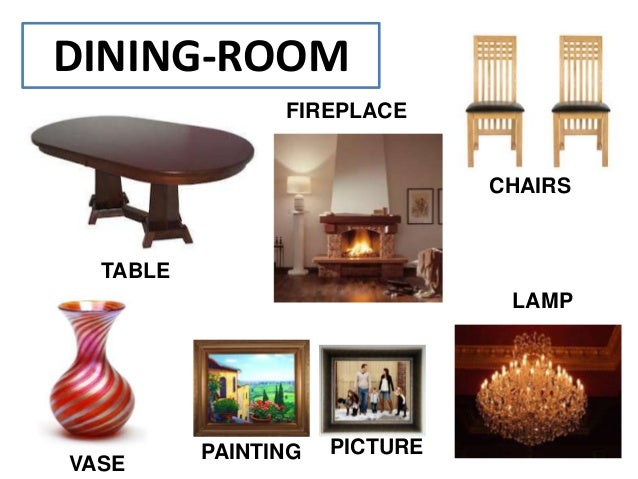The house vocabulary for Names of dining room furniture