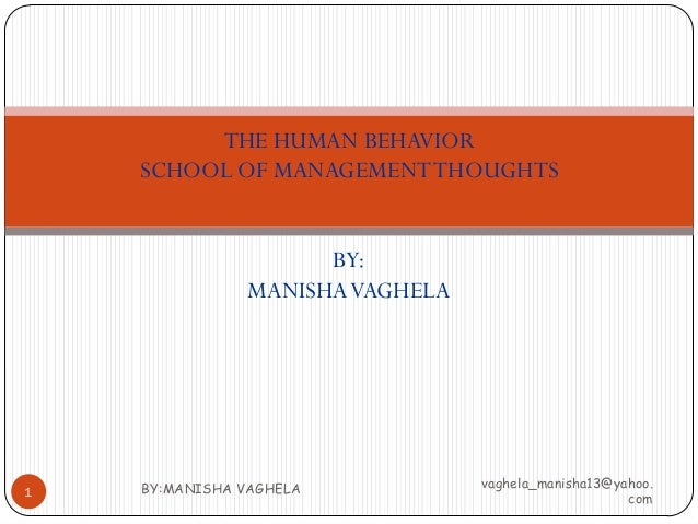 THE HUMAN BEHAVIOR    SCHOOL OF MANAGEMENT THOUGHTS                      BY:                MANISHA VAGHELA    BY:MANISHA ...