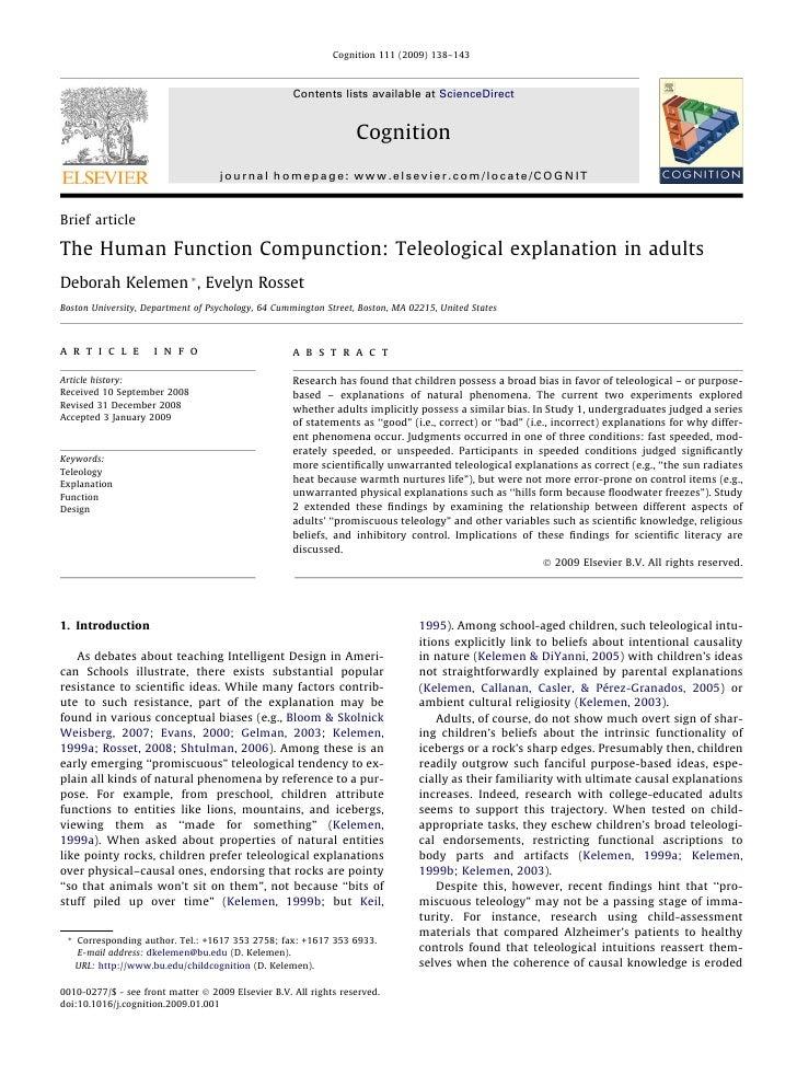 The human function compunction   teleological explanation in adults (kelemen & rosset 2009)
