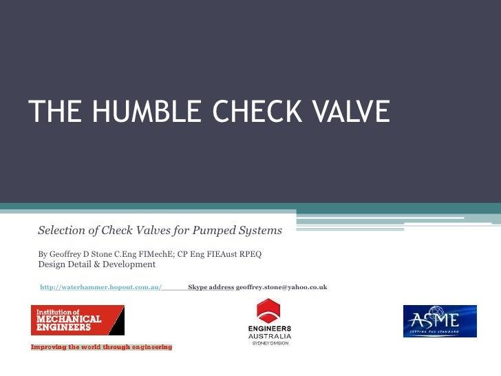 The Humble Check Valve