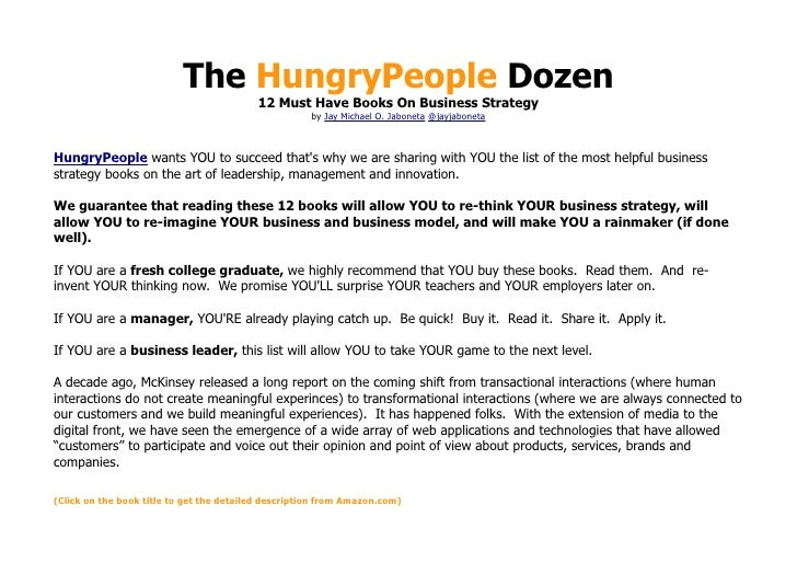 The HungryPeople Dozen                                          12 Must Have Books On Business Strategy                   ...