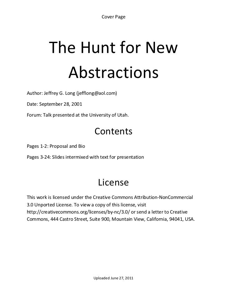 Cover Page            The Hunt for New             Abstractions                                     Author: Jeffrey G. Lon...