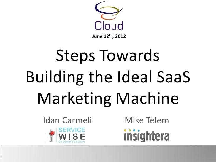June 12th, 2012    Steps TowardsBuilding the Ideal SaaS Marketing Machine  Idan Carmeli                 Mike Telem