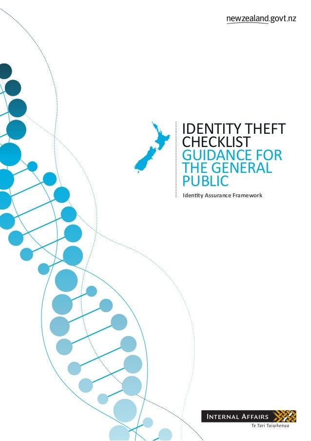 Identity Theft Checklist Guidance for the general public Identity Assurance Framework