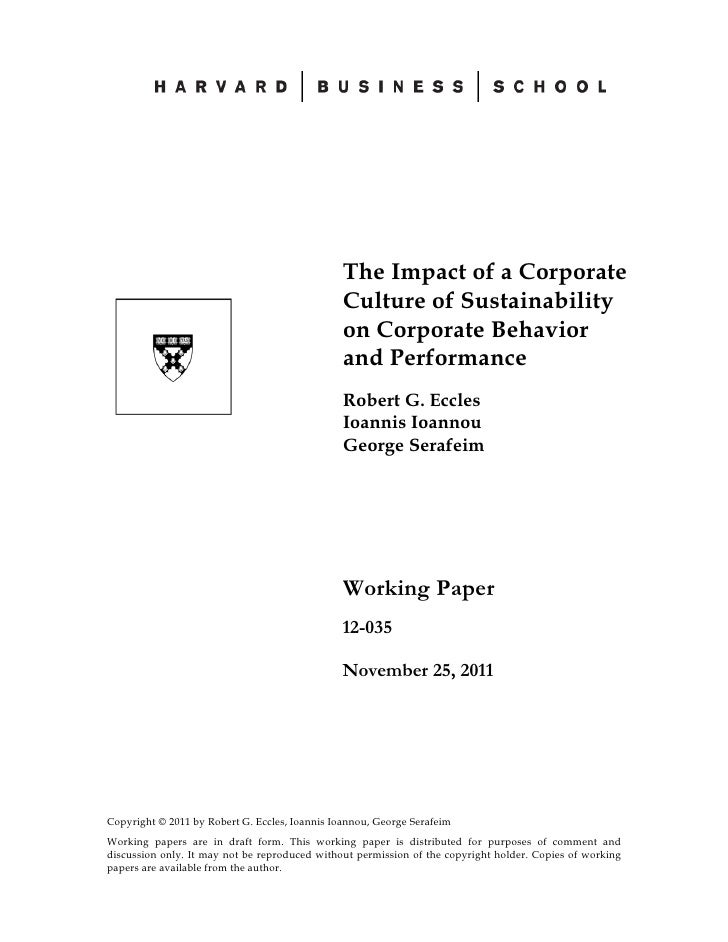 The impact of a corporate culture of sustainability on corporate behavior and performance
