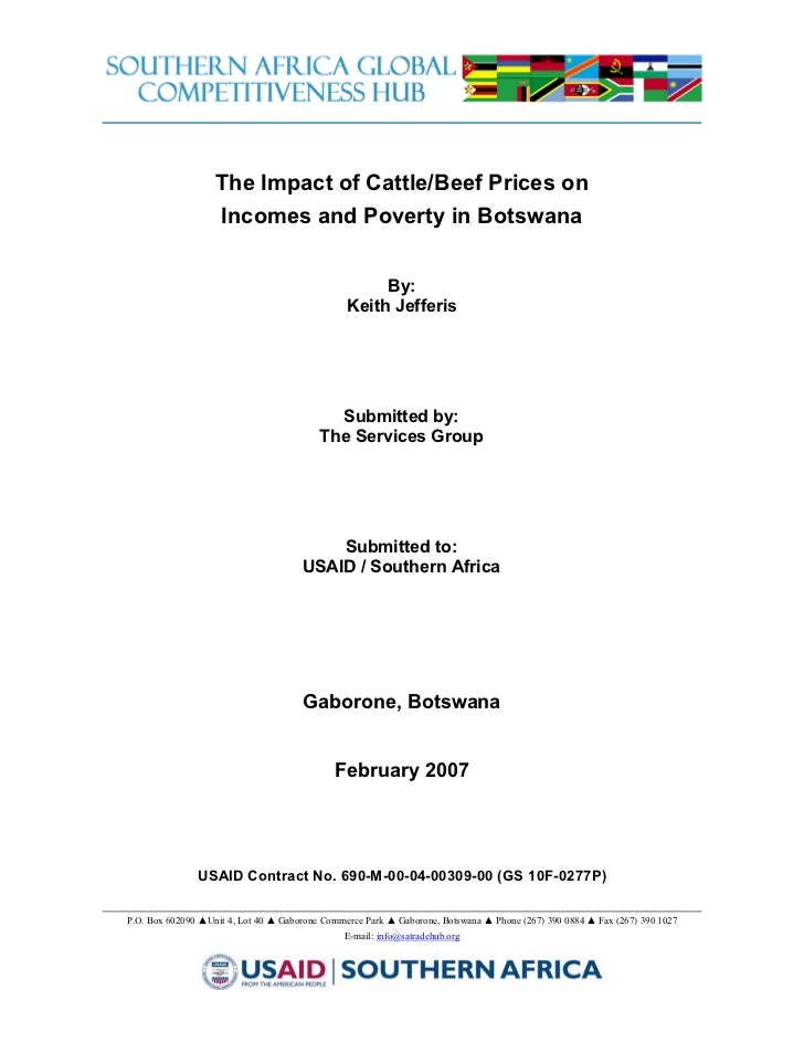 2007:The Impact of Cattle and Beef Prices on Incomes and Poverty in Botswana