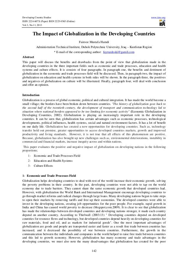 Developing Country Studies ISSN 2224-607X (Paper) ISSN 2225-0565 (Online) Vol.3, No.11, 2013  www.iiste.org  The Impact of...