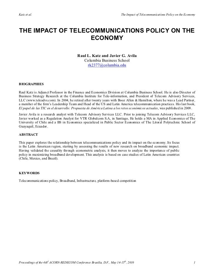 The impact of telecommunications policy on the economy  - Raul L. Katz and Javier G. Avila (2010)