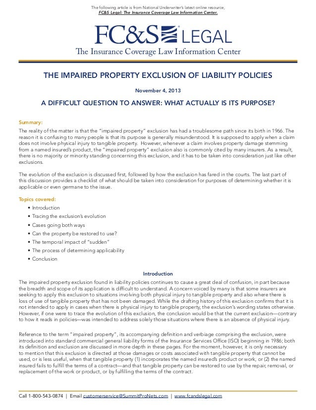 The Impaired Property Exclusion of Liability Policies (from FC&S Legal)
