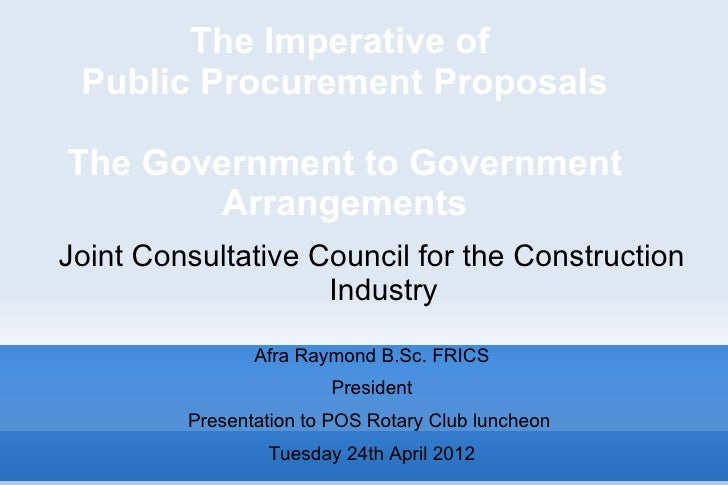The imperative of public procurement: the government to government arrangements