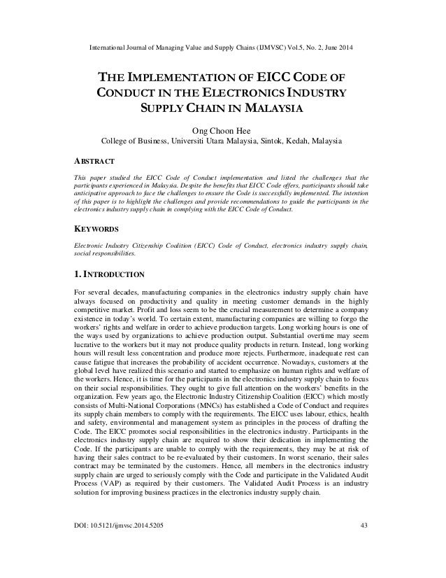 The implementation of eicc code of conduct in the electronics industry supply chain in malaysia