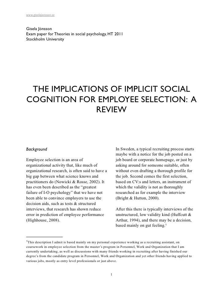 www.giselajonsson.seGisela JönssonExam paper for Theories in social psychology, HT 2011Stockholm University THE IMPLICATIO...
