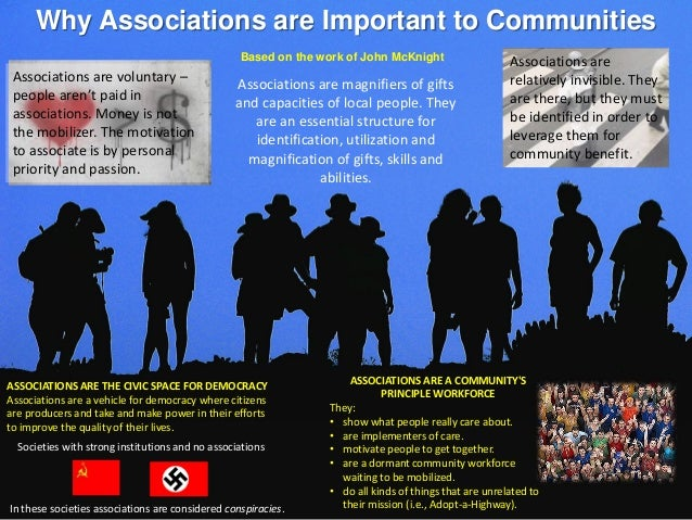 Why Associations are Important to Communities Based on the work of John McKnight ASSOCIATIONS ARE THE CIVIC SPACE FOR DEMO...