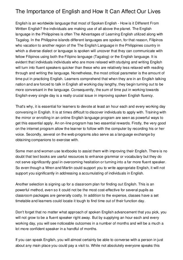 English so important essay
