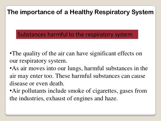 The importance of a Healthy Respiratory SystemSubstances harmful to the respiratory system•The quality of the air can have...
