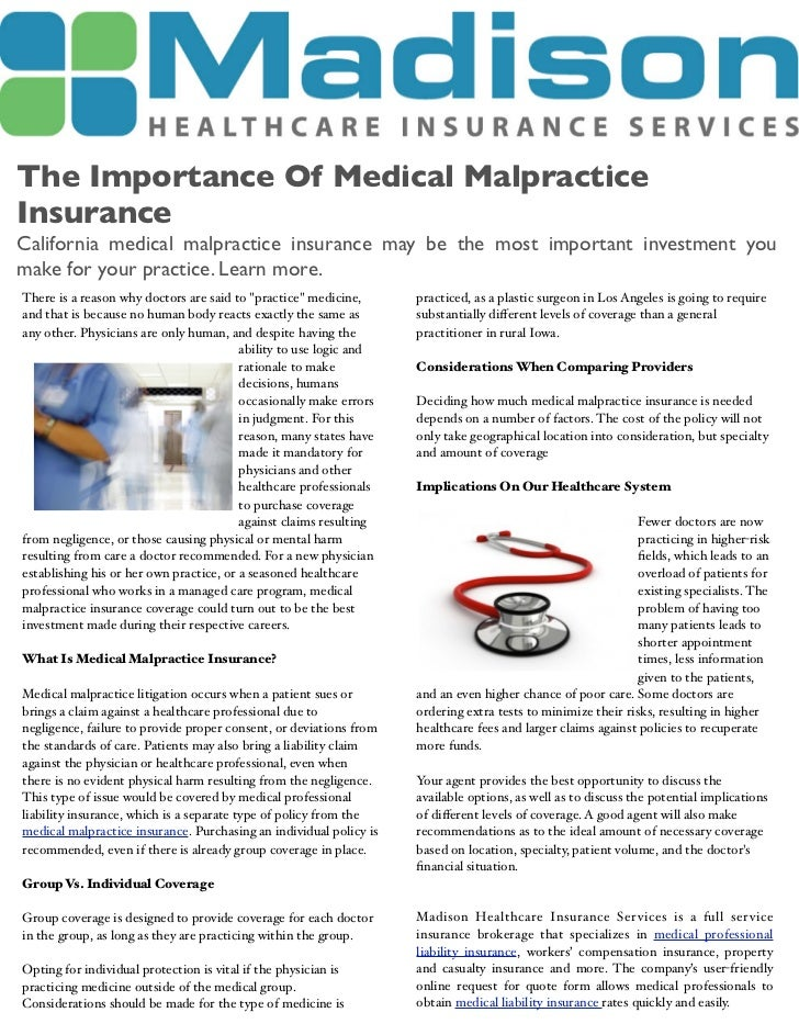 The importance of medical malpractice insurance