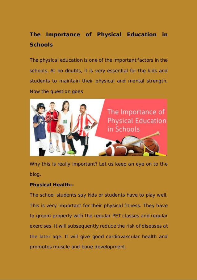 physical education important in schools