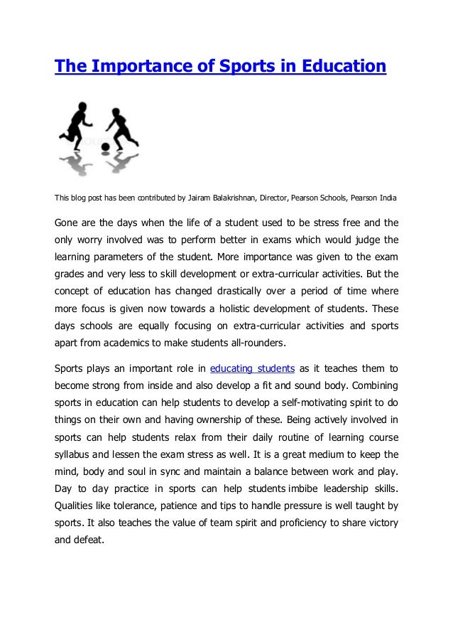 essay on importance of sports in education