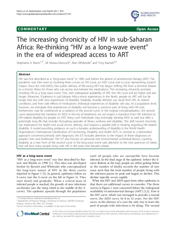 The increasing chronicity of hiv in sub saharan africa 2011