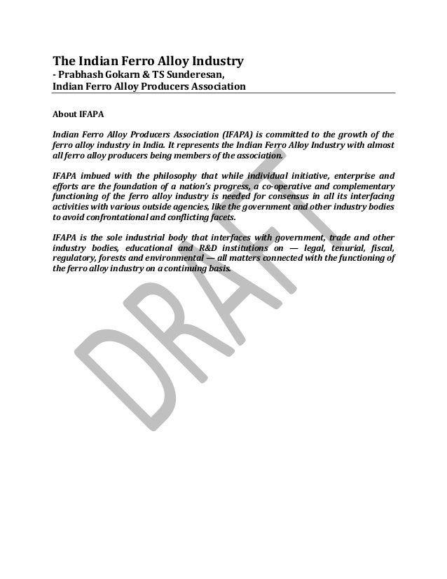 The Indian Ferro Alloy Industry- Prabhash Gokarn & TS Sunderesan,Indian Ferro Alloy Producers AssociationAbout IFAPAIndian...