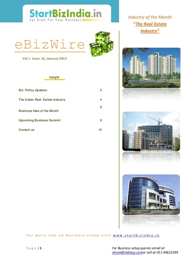 Business Set up Article: Indian Real Estate Industry