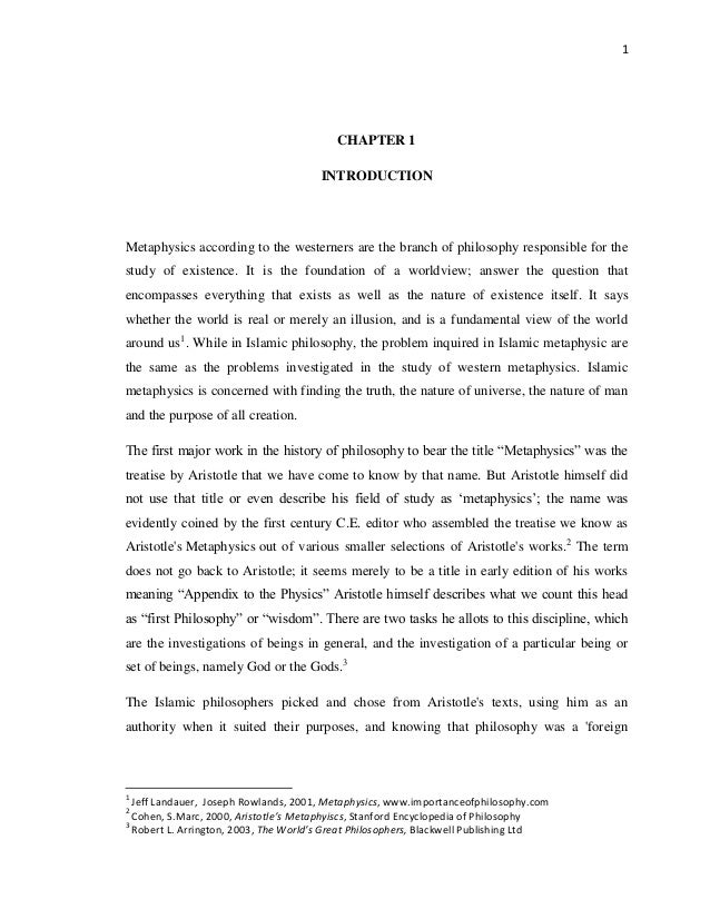 The Influence of Aristotle's Metaphysic on Selected Muslim Philosophers