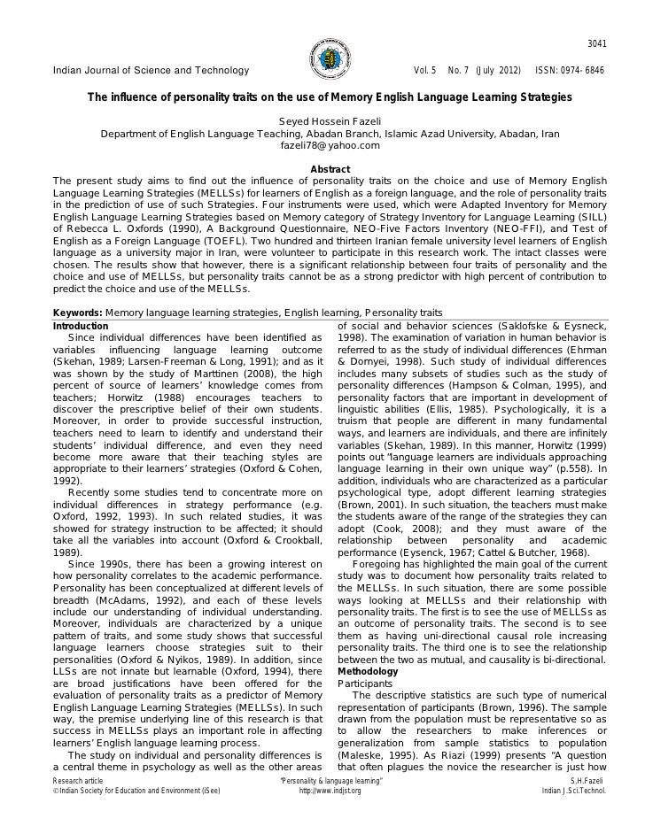 The influence of personality traits on the use of memory english language learning strategies