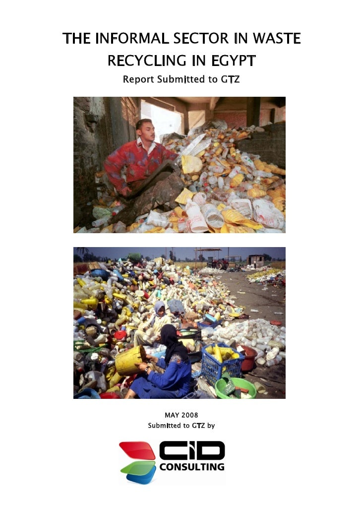 THE INFORMAL SECTOR IN WASTE     RECYCLING IN EGYPT       Report Submitted to GTZ               MAY 2008           Submitt...