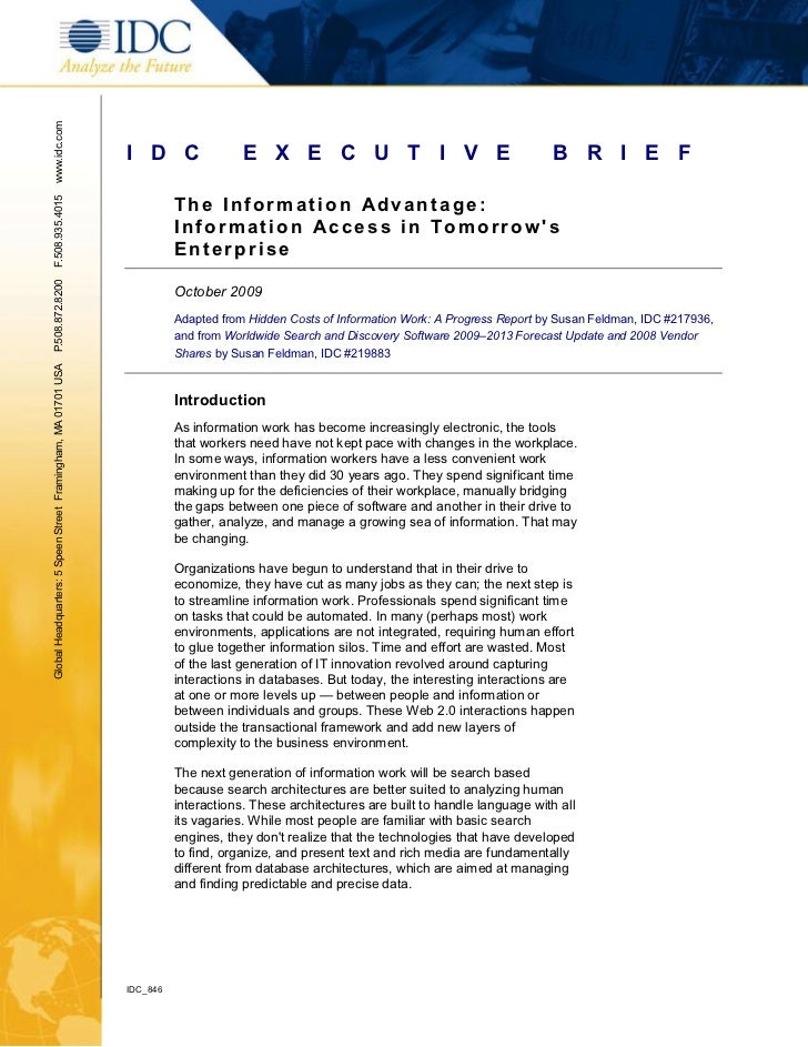The Information Advantage - Information Access in Tomorrow's Enterprise