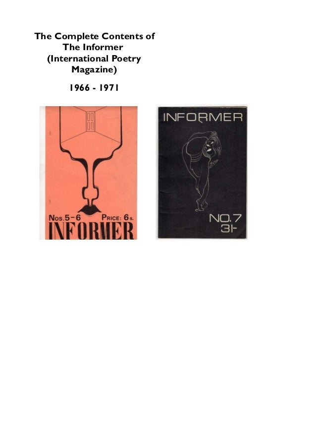 The Complete Contents of The Informer (International Poetry Magazine) 1966 - 1971
