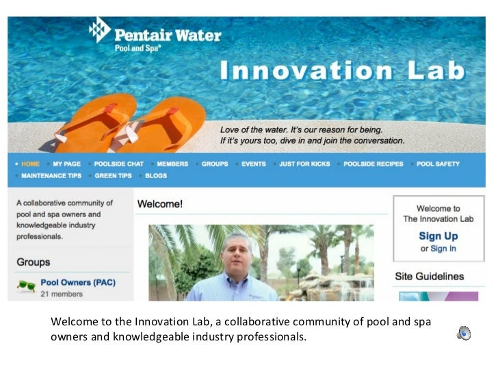 Welcome to the Innovation Lab, a collaborative community of pool and spa owners and knowledgeable industry professionals.