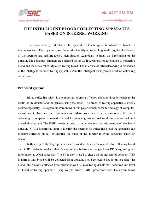 THE INTELLIGENT BLOOD COLLECTING APPARATUS BASED ON INTERNETWORKING The paper chiefly introduces the apparatus of intellig...