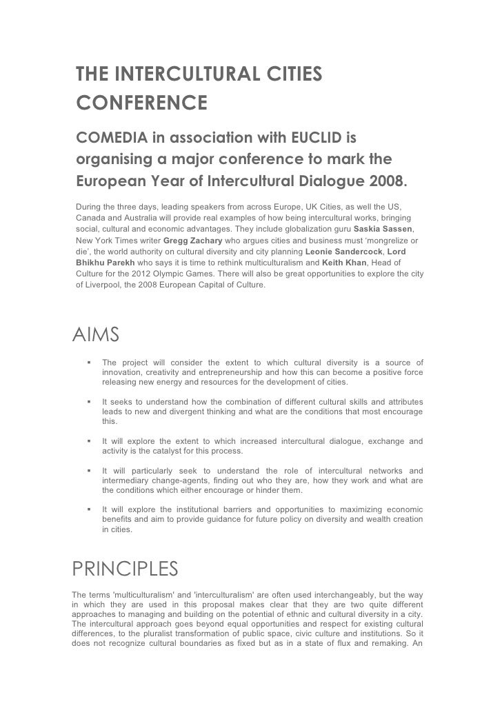 THE INTERCULTURAL CITIES CONFERENCE COMEDIA in association with EUCLID is organising a major conference to mark the Europe...