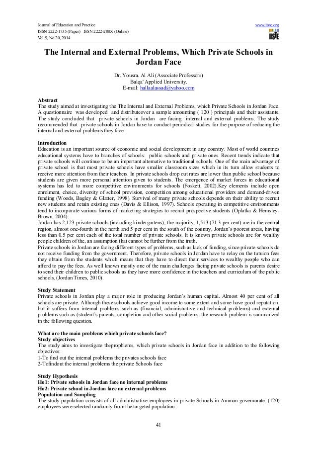Journal of Education and Practice www.iiste.org ISSN 2222-1735 (Paper) ISSN 2222-288X (Online) Vol.5, No.20, 2014 41 The I...