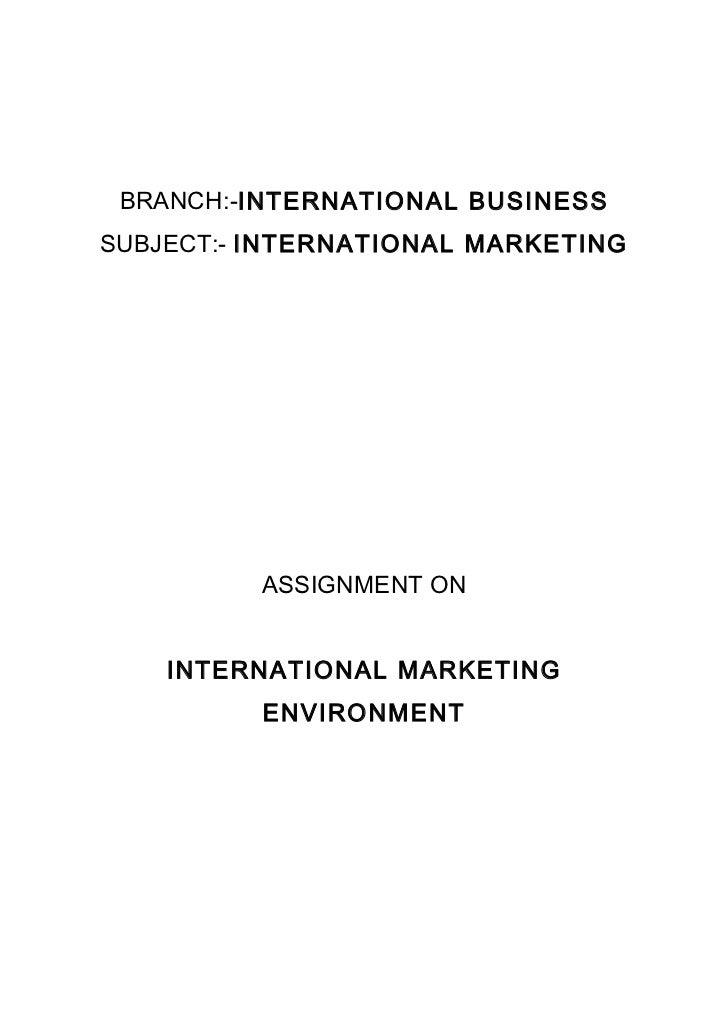 The international marketing environment