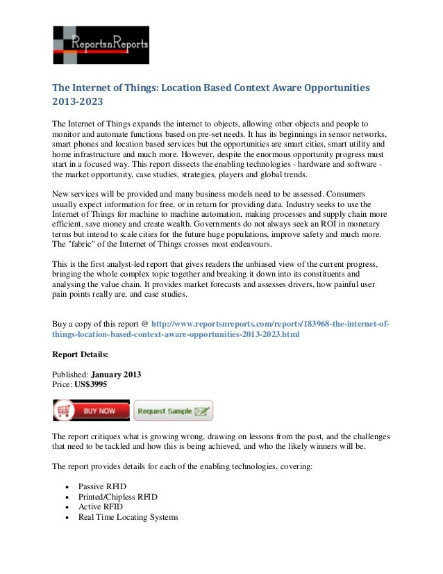 The Internet of Things: Location Based Context Aware Opportunities2013-2023The Internet of Things expands the internet to ...